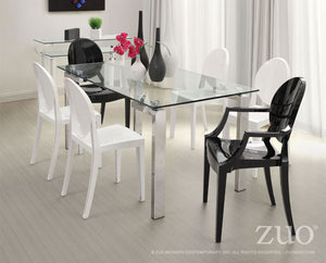"Zuo Modern Roca 59"" Stainless Steel Dining Table with Glass Top"