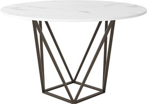 "Zuo Modern Tintern 51.2"" White & Antique Brass Dining Table"