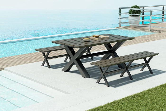 "Zuo Modern Bodega 73"" Indoor/Outdoor Dining Table in Industrial Gray & Brown"