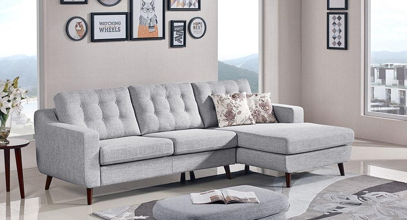 Jordana RF 2-Piece Fabric Sectional - Light Grey