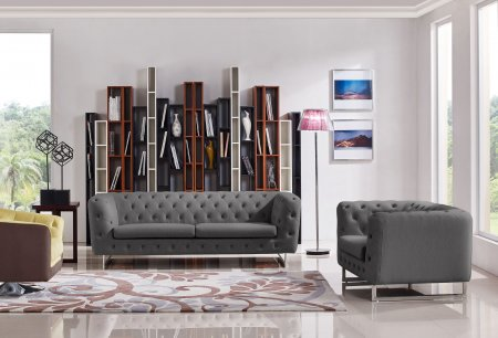 Catalina Tufted Sofa & Chair Set with Metal Leg