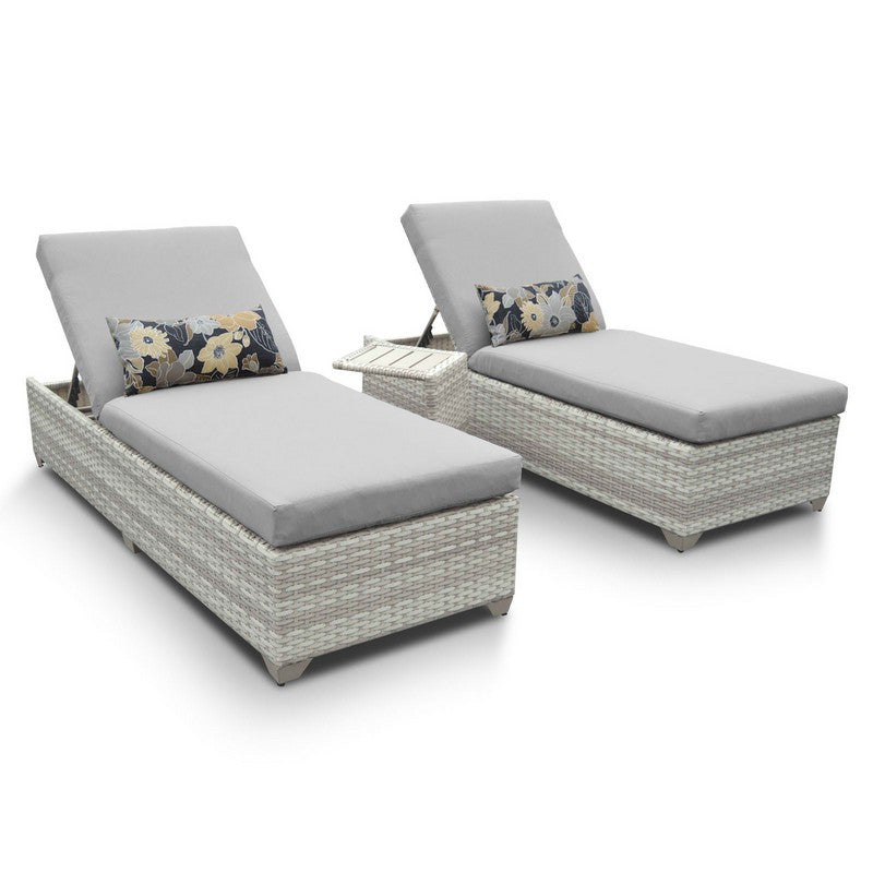 Fairmont Outdoor Chaise Lounge Set of 2 With Side Table - Grey