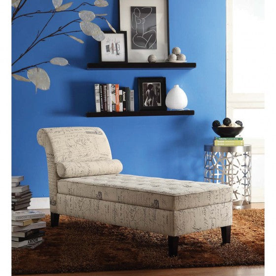 Beige Relaxing Chaise Lounge Chair with Storage