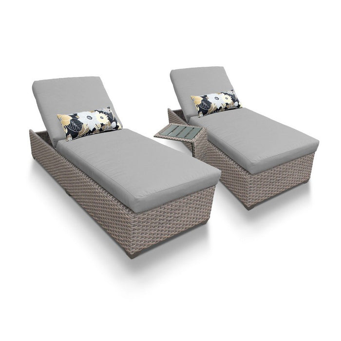 Oasis Chaise Set of 2 Outdoor Wicker Patio Furniture With Side Table