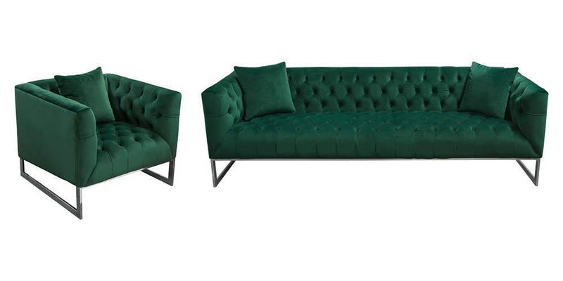 Crawford Tufted Sofa and Chair Set
