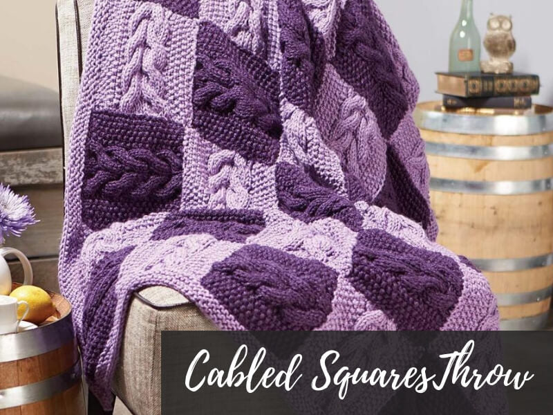 Cabled Squares Knit Throw