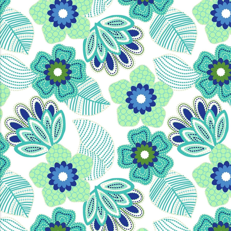 Carnivale Blue Stitched Floral White Fabric Yardage 12626-W | Ann's By Design