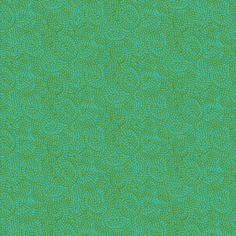 Carnivale Blue Stitched Swirls Green Fabric Yardage 12641-G | Ann's By Design