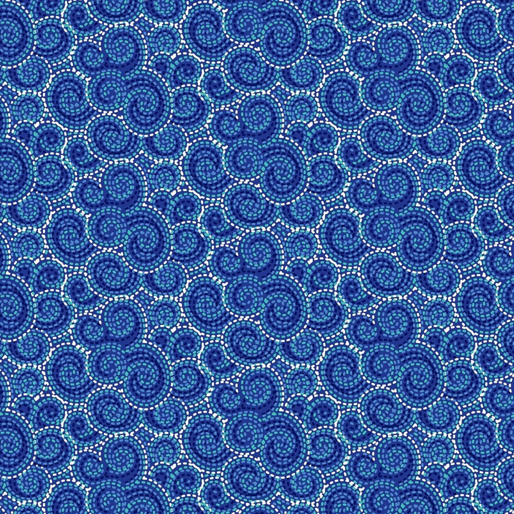 Carnivale Blue Stitched Swirls Blue Fabric Yardage 12647-B | Ann's By Design