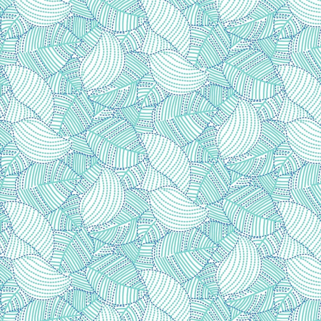 Carnivale Blue Packed Leaves Turquoise Fabric Yardage 12648-T | Ann's By Design