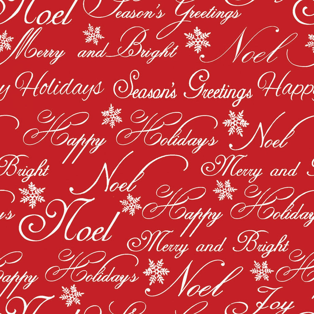 Christmas Garden Words Red Fabric Yardage 13914-RED | Ann's By Design