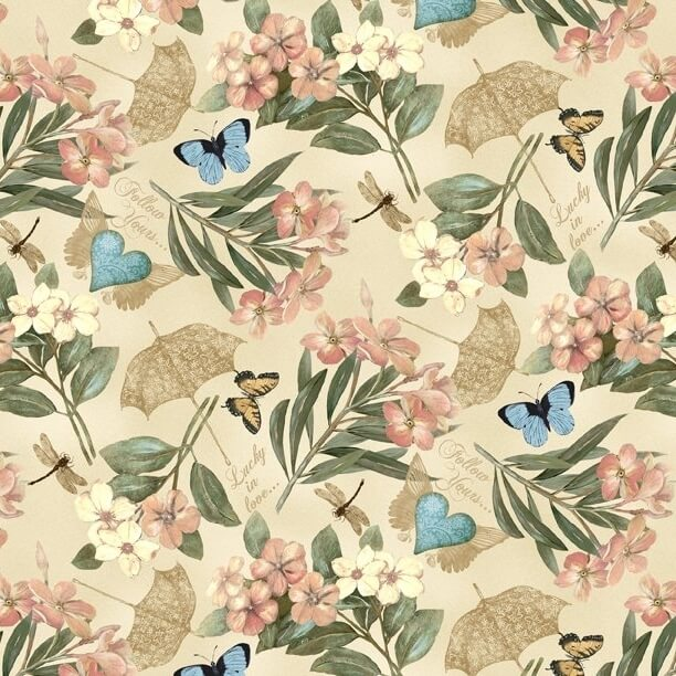 Garden Hideaway Floral Allover Tan Fabric Yardage 14601-273 | Ann's By Design