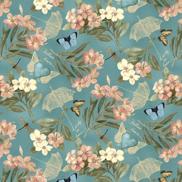 Garden Hideaway Floral Allover Blue Fabric Yardage 14601-473 | Ann's By Design