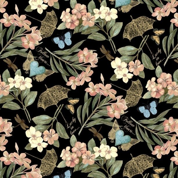 Garden Hideaway Floral Allover Black Fabric Yardage 14601-973 | Ann's By Design