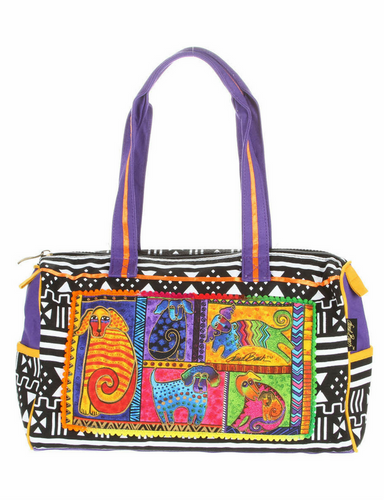 Laurel Burch Dog Tails Patchwork Medium Satchel Bag LB5211
