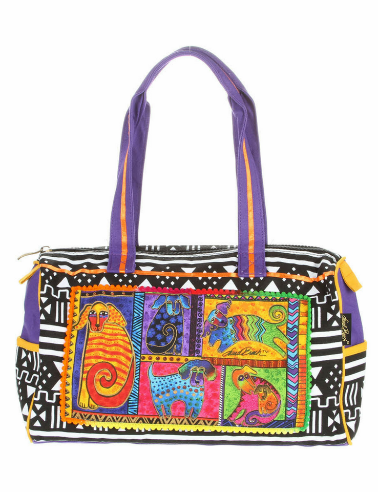 Laurel Burch Dog Tails Patchwork Medium Satchel Bag LB5211 | Ann's By Design