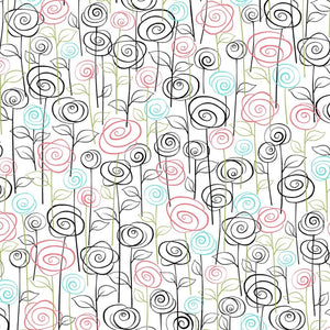 Not Your Garden Variety Stylized Floral White Fabric Yardage 25768-Z