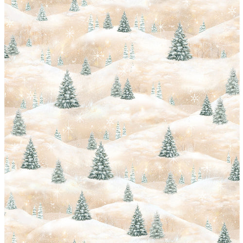 Woodland Friends - Pine Tree Scenic Light Tan Fabric Yardage 25842-A