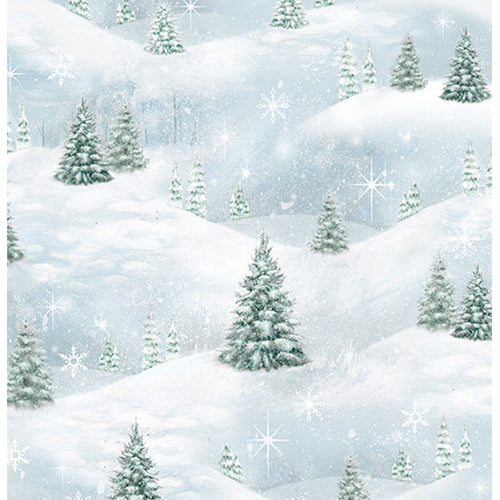 Woodland Friends - Pine Tree Scenic Blue Frost Fabric Yardage 25842-B