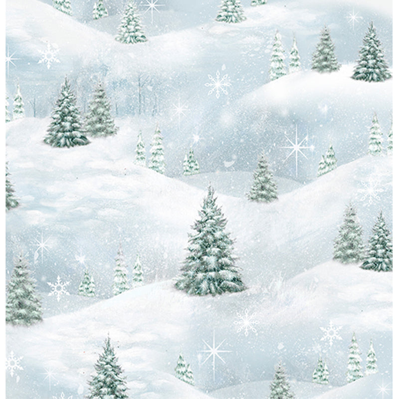 Woodland Friends - Pine Tree Scenic Blue Frost Fabric Yardage 25842-B | Ann's By Design