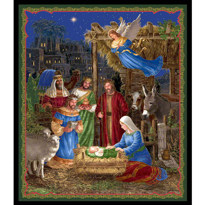 In Bethlehem Nativity 36in Multi Fabric Panel 25909-X | Ann's By Design