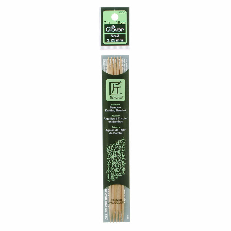 "Clover Takumi Bamboo 7"" Double Point Knitting Needles 