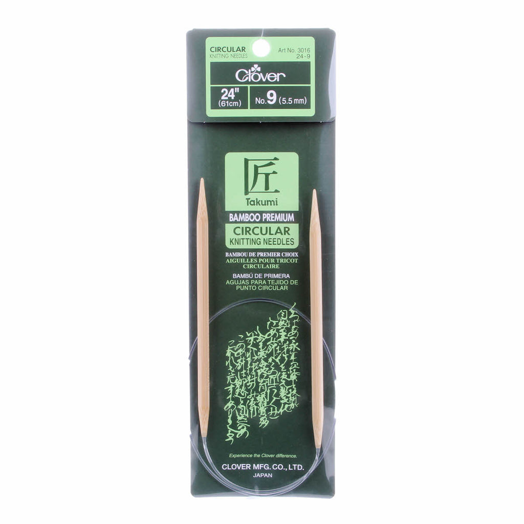 "Clover Takumi Bamboo 24"" Fixed Circular Knitting Needles 