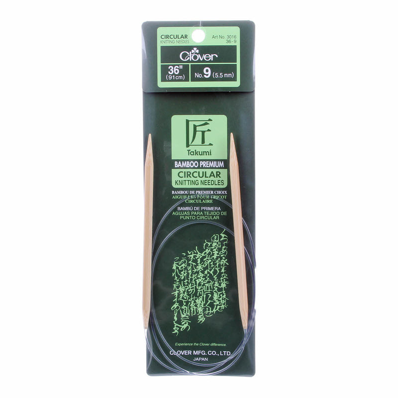 "Clover Takumi Bamboo 36"" Fixed Circular Knitting Needles 