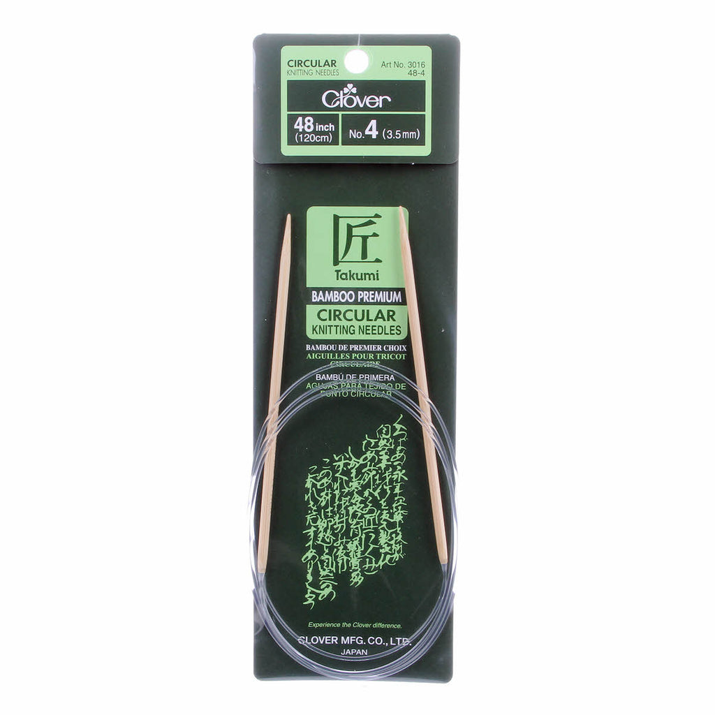 "Clover Takumi Bamboo 48"" Fixed Circular Knitting Needles 