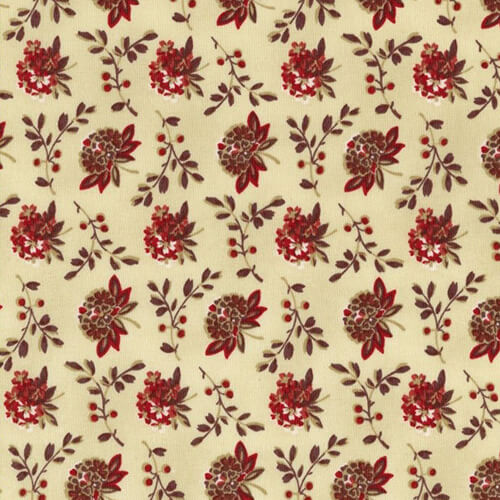 Coryn Floral Bouquet Cream/Cranberry Fabric Yardage 41131-3 | Ann's By Design