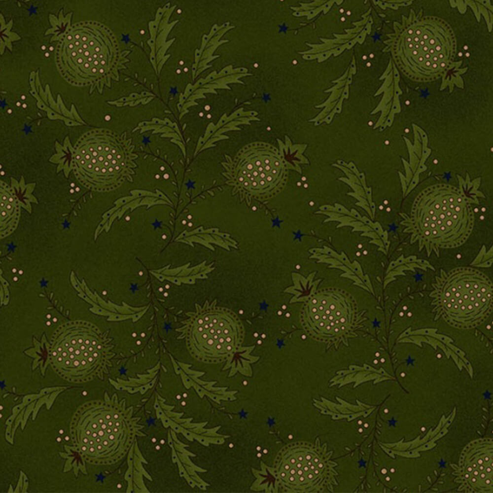 Heritage Hollow by Kim Diehl Green Pomegranates Fabric Yardage 6313-66 | Ann's By Design