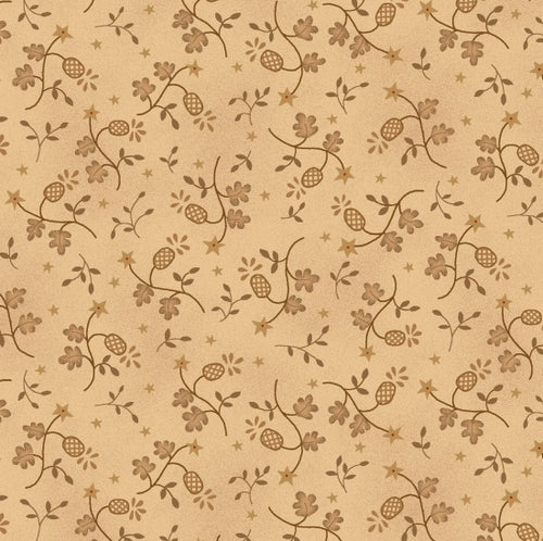 Katie's Cupboard by Kim Diehl Beige Leaves Fabric Yardage 6676-40