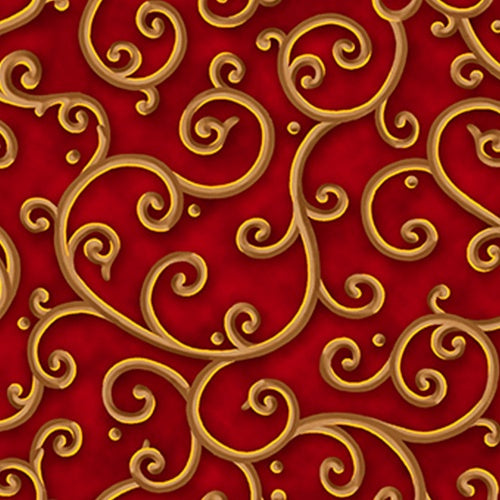 All Is Calm by Liz Dillon Red/Gold Scroll Fabric Yardage 25872-R | Ann's By Design