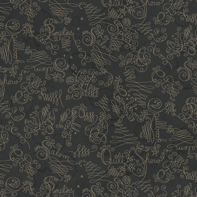Salem Quilt Show Charcoal Black Script Fabric Yardage  MAS8354-J | Ann's By Design