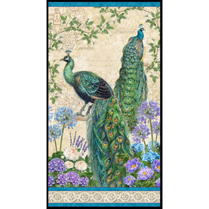 "Plumage Large Peacock 24"" Multi Fabric Panel 96410-176"