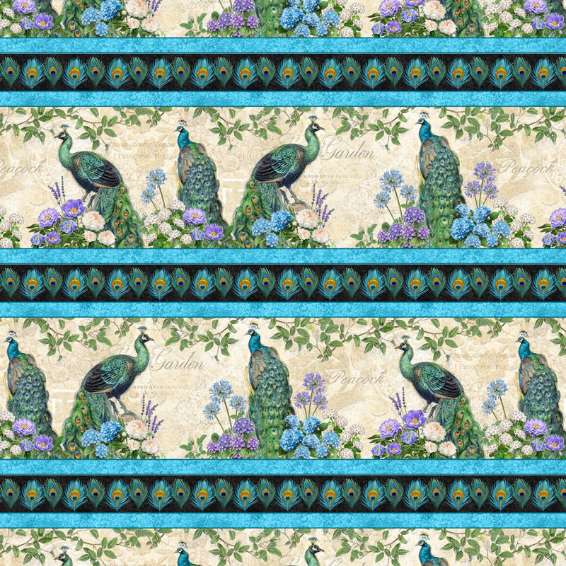 Plumage Peacock Repeating Stripe Multi Fabric Yardage 96411-147 | Ann's By Design