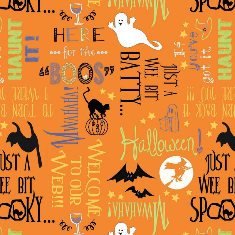 Here For The Boos Orange Words All Over Fabric Yardage 14594-876 | Ann's By Design