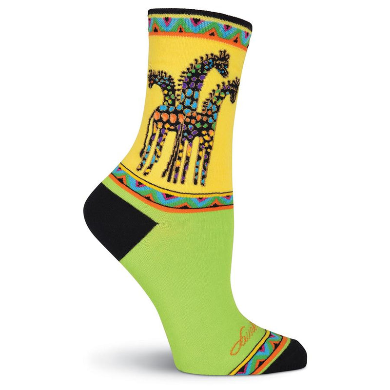 Laurel Burch Women's Rainbow Giraffes Socks Yellow/Green LB1049 | Ann's By Design