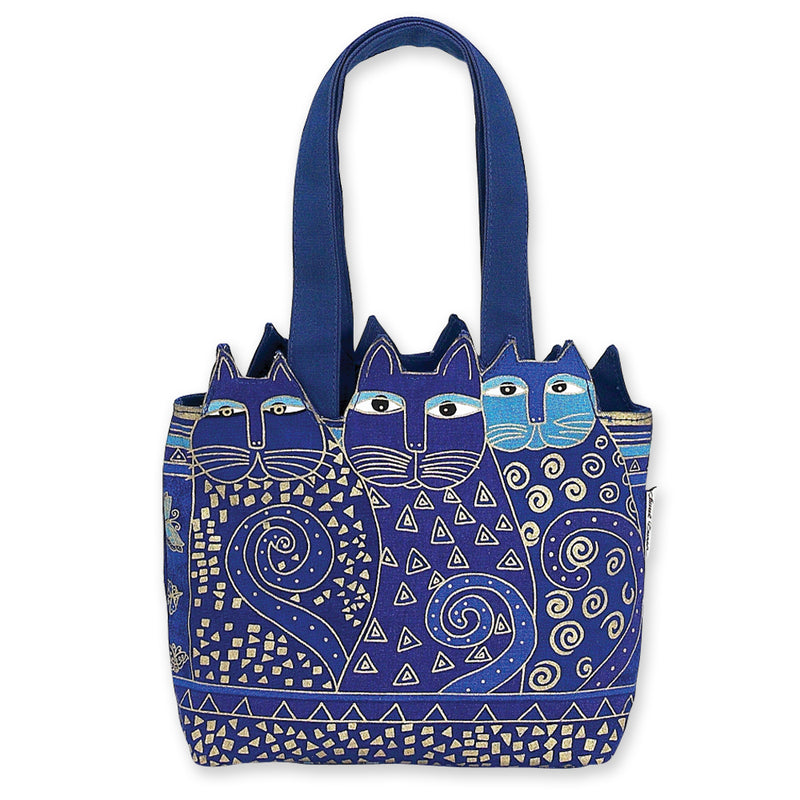 Laurel Burch Tres Gatos Indigo Cats Medium Cutout Tote Bag LB4101 | Ann's By Design