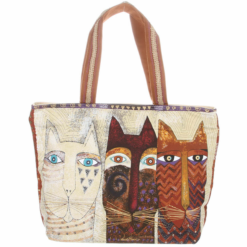 Laurel Burch Ancestral Cats Shoulder Tote Bag LB4760 | Ann's By Design