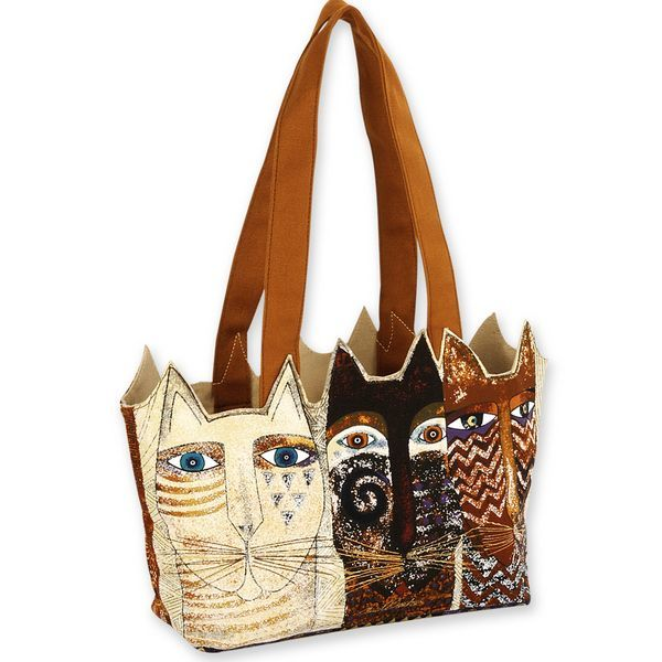 Laurel Burch Ancestral Cats Medium Cutout Tote Bag LB4763 | Ann's By Design