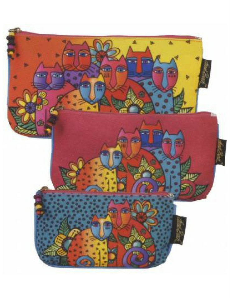Laurel Burch Cosmetic Bags 3-pack, Feline Clan | Ann's By Design