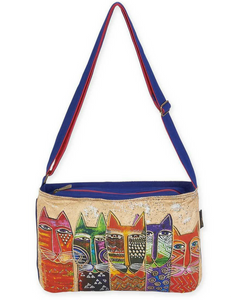 Laurel Burch Medium Crossbody Long Neck Cats