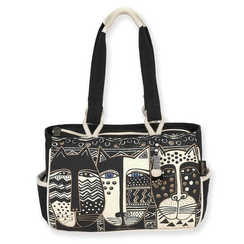 Laurel Burch Medium Pocket Tote Bag Wild Cat Black & White