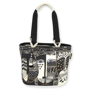 Laurel Burch Medium Tote Wild Cat Black & White - LB5803