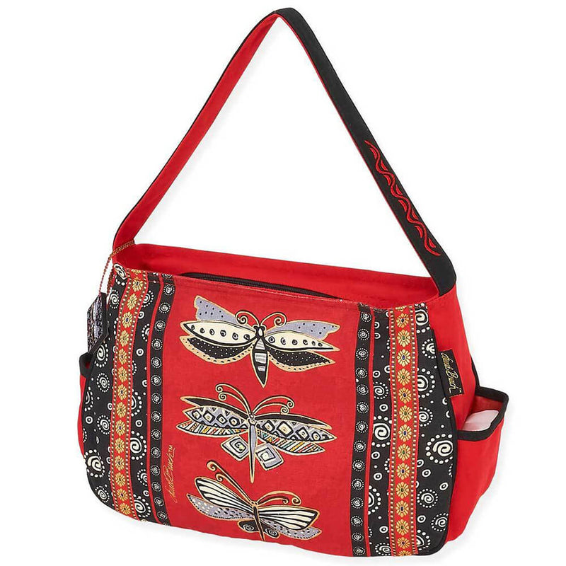 Laurel Burch Medium Hobo Tote Bag Dragonfly Black & Red - LB5812 | Ann's By Design