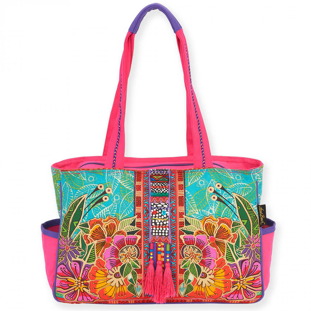 Laurel Burch Colorful Flora Medium Pocket Tote Bag LB5822 | Ann's By Design