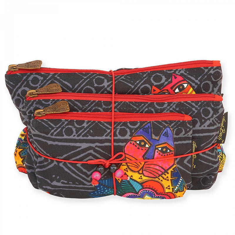 Laurel Burch Mara Cat 3pc Cosmetic Bags Set LB5854 | Ann's By Design