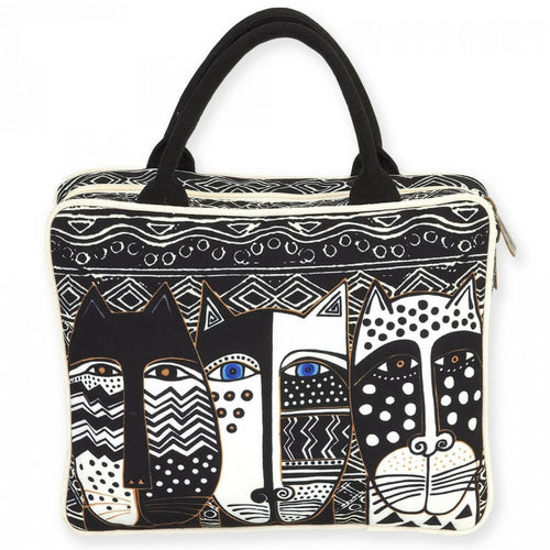 Laurel Burch Cosmetic Travel Tote Wild Cat Black & White LB5900A