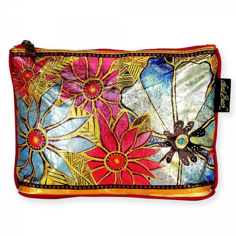 Laurel Burch Teal/Purple Florals Foiled Cosmetic Bag LB5903C | Ann's By Design